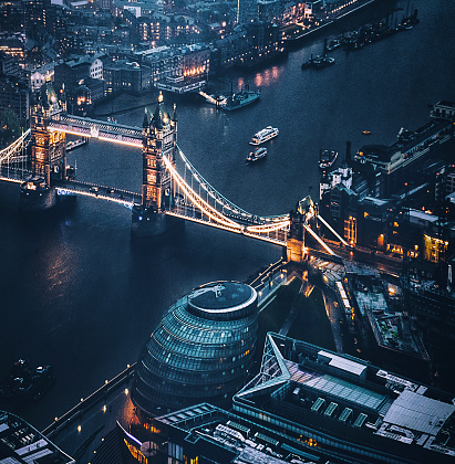 London Bridge - England「tower bridge aerial view at night」:スマホ壁紙(3)