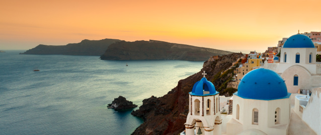 Aegean Sea「Oia Panoramic Sunset, Santorini, Greece」:スマホ壁紙(6)