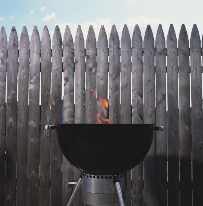 Barbecue Grill「Flame coming out of barbeque on roof deck」:スマホ壁紙(16)