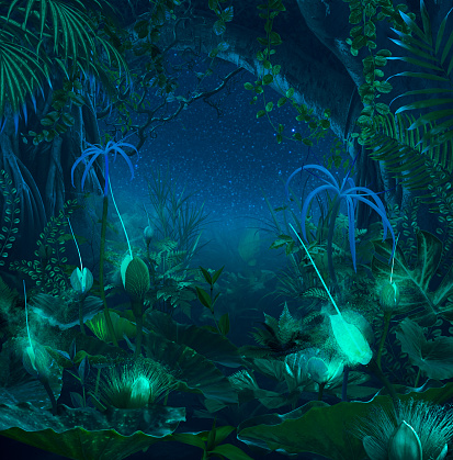 Art「Surreal night jungle with luminescent plants and flowers」:スマホ壁紙(8)