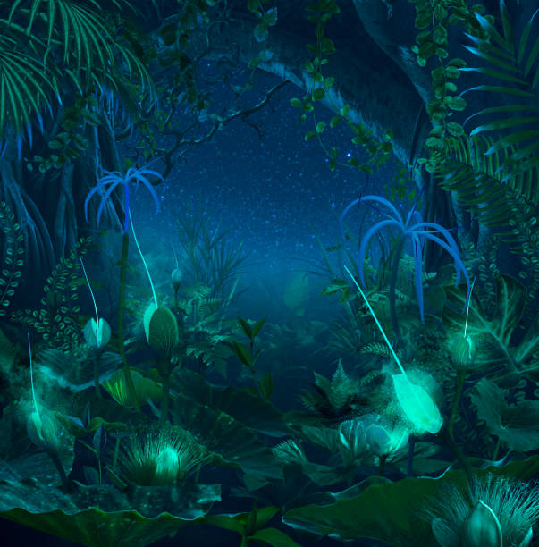 Surreal night jungle with luminescent plants and flowers:スマホ壁紙(壁紙.com)