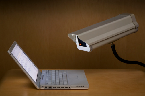 Security System「Surveillance camera peering into laptop computer」:スマホ壁紙(1)