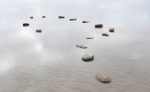 Stones in water shaped into question mark:スマホ壁紙(壁紙.com)