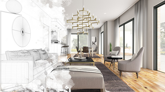 Illustration「Half Drawing Sketch Modern Living Room Interior」:スマホ壁紙(12)