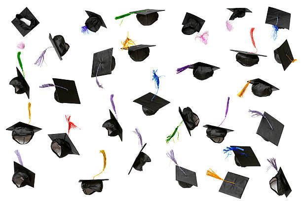 Graduation Caps (isolated on white):スマホ壁紙(壁紙.com)