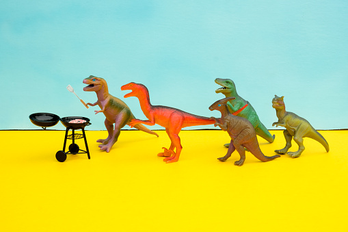 Party - Social Event「Fun Colourful Toy Dinosaurs Conceptual Scene - BBQ Meat Eaters」:スマホ壁紙(0)