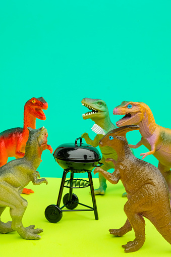 Party - Social Event「Fun Colourful Toy Dinosaurs Conceptual Scene - BBQ Meat Eaters」:スマホ壁紙(4)