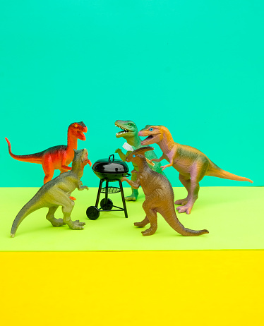 Party - Social Event「Fun Colourful Toy Dinosaurs Conceptual Scene - BBQ Meat Eaters」:スマホ壁紙(2)
