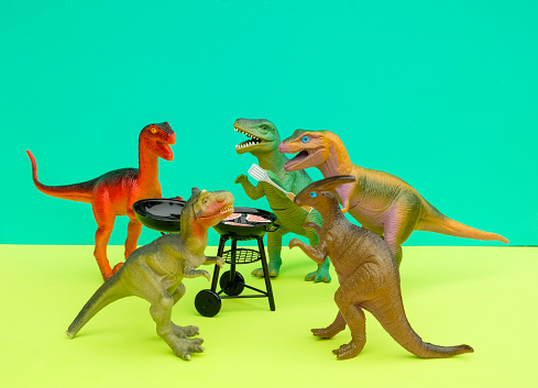 Party - Social Event「Fun Colourful Toy Dinosaurs Conceptual Scene - BBQ Meat Eaters」:スマホ壁紙(17)