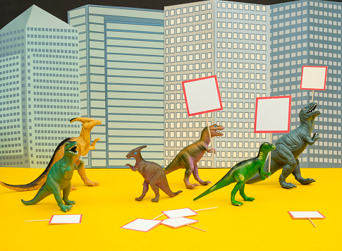 Cartoon「Fun Colourful Toy Dinosaurs Conceptual Scene - Picketing」:スマホ壁紙(1)