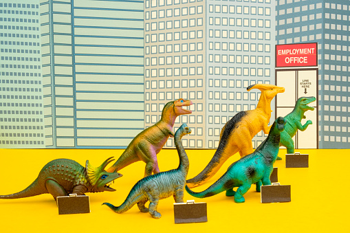 Cartoon「Fun Colourful Toy Dinosaurs Waiting In Line At The Unemployment Office」:スマホ壁紙(0)