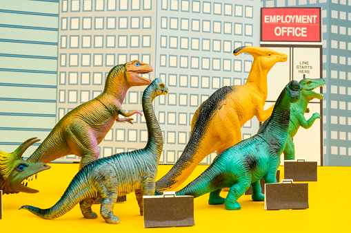 Cartoon「Fun Colourful Toy Dinosaurs Waiting In Line At The Unemployment Office」:スマホ壁紙(14)