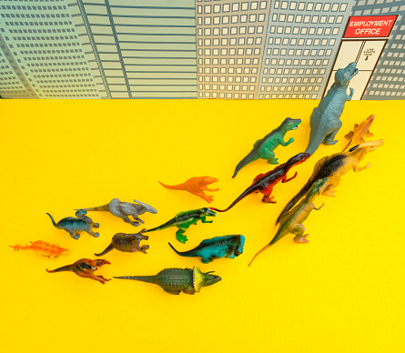 Cartoon「Fun Colourful Toy Dinosaurs Waiting In Line At The Unemployment Office」:スマホ壁紙(17)