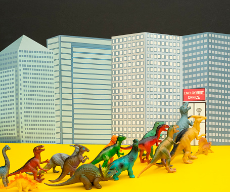 Cartoon「Fun Colourful Toy Dinosaurs Waiting In Line At The Unemployment Office」:スマホ壁紙(15)