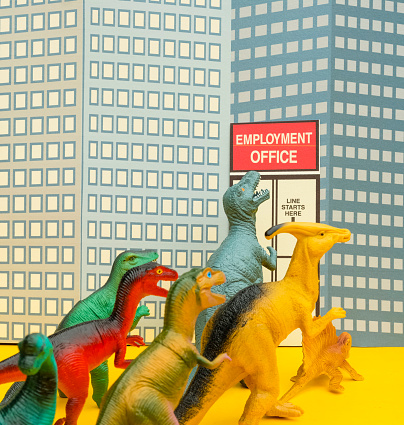 Cartoon「Fun Colourful Toy Dinosaurs Waiting In Line At The Unemployment Office」:スマホ壁紙(16)
