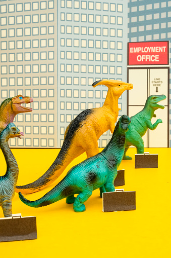 Cartoon「Fun Colourful Toy Dinosaurs Waiting In Line At The Unemployment Office」:スマホ壁紙(13)
