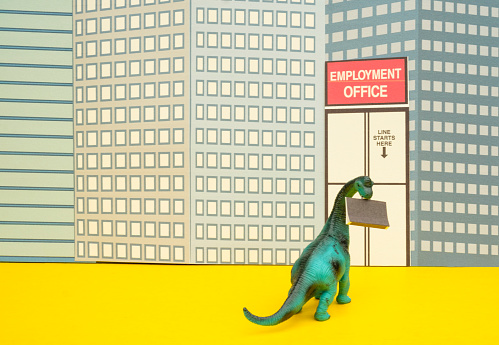 Cartoon「Fun Colourful Toy Diplodocus Dinosaur Waiting In Line At The Unemployment Office」:スマホ壁紙(9)