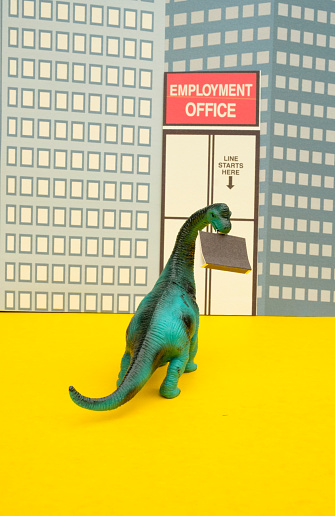 Cartoon「Fun Colourful Toy Diplodocus Dinosaur Waiting In Line At The Unemployment Office」:スマホ壁紙(19)