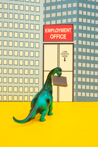 Cartoon「Fun Colourful Toy Diplodocus Dinosaur Waiting In Line At The Unemployment Office」:スマホ壁紙(11)