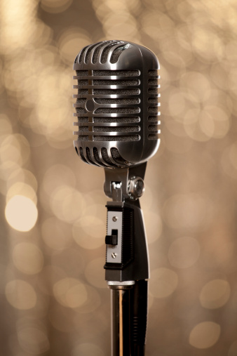 1960-1969「Retro chrome microphone with glamour gold background」:スマホ壁紙(9)