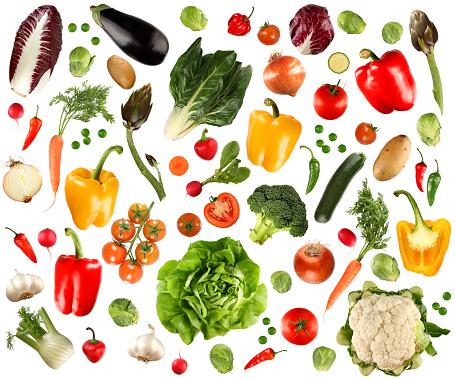 Garlic「Arrangement of several vegetables against white background」:スマホ壁紙(16)