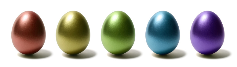 Easter「Colorful Shiny Eggs on White Background」:スマホ壁紙(4)