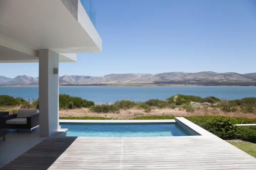ラッププール「からの湖の眺め、モダンなハウス」:スマホ壁紙(6)