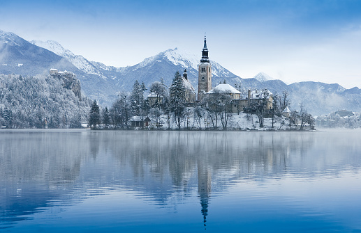 Castle「View of lake bled in the winter」:スマホ壁紙(6)