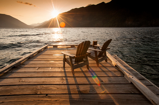 Deck Chair「Sunset, Cresent Lake, Washington」:スマホ壁紙(14)