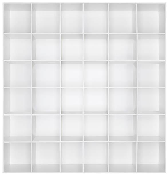 Empty white wooden bookshelf:スマホ壁紙(壁紙.com)