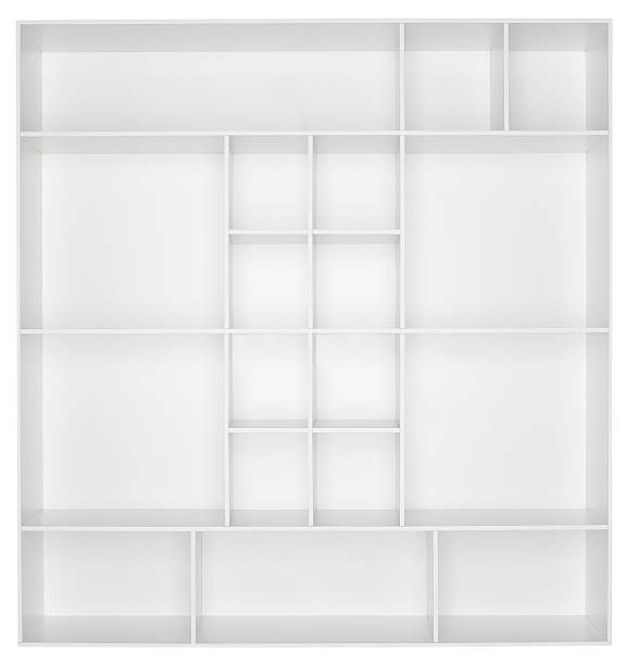 Empty white wooden bookshelf:スマホ壁紙(壁紙.com)