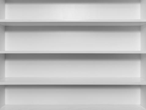 Shelf「Empty white wooden bookshelf」:スマホ壁紙(3)