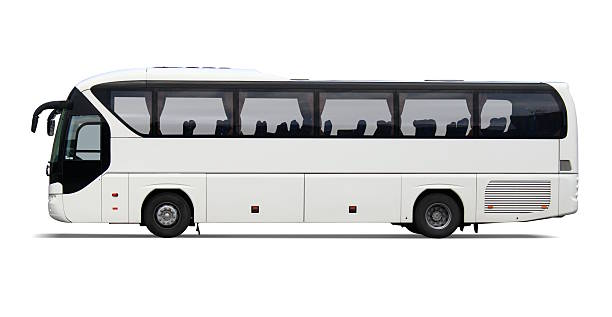 Empty white tour bus with no driver or passengers:スマホ壁紙(壁紙.com)