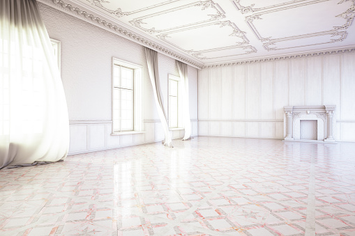 Unfurnished「Empty White Interior with Windows and Curtains」:スマホ壁紙(10)