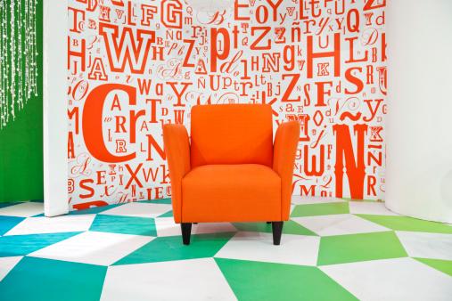 Orange Color「Empty colorful television studio decoration with armchair」:スマホ壁紙(11)