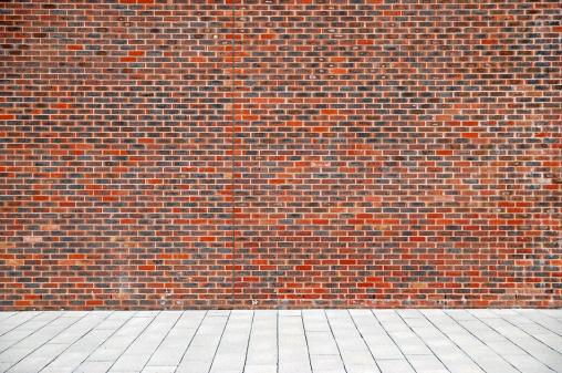 Brick Wall「Urban background UK - Red brick wall with sidewalk」:スマホ壁紙(3)
