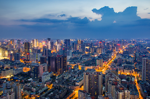 Sichuan Province「cityscape and skyline of modern city at night」:スマホ壁紙(16)