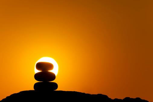 Feng Shui「stacked zen stones at sunrise」:スマホ壁紙(9)