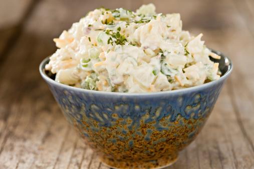 Rusty「Creamy Potato Salad In A Fancy Blue Bowl」:スマホ壁紙(4)