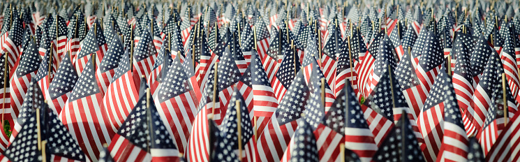 Patriotism「Panoramic image of an array of Memorial Day flags」:スマホ壁紙(11)