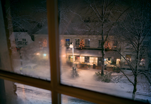 North Brabant「Winter window view of village street, Netherlands」:スマホ壁紙(2)