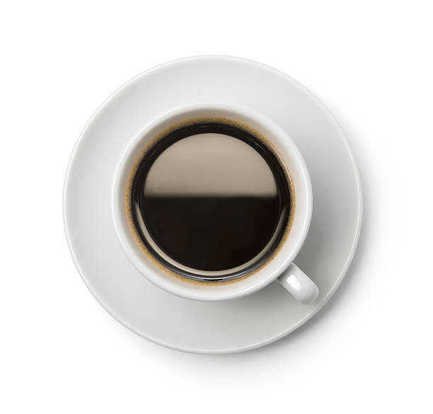 A top-down picture of a cup of coffee on a plate:スマホ壁紙(壁紙.com)