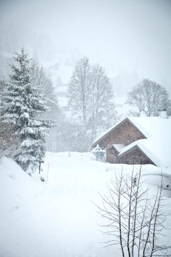 雪山「アルパイン・シャレーには、霧」:スマホ壁紙(19)