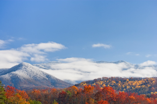 Gatlinburg「Autumn day with snowfall on the mountains」:スマホ壁紙(5)