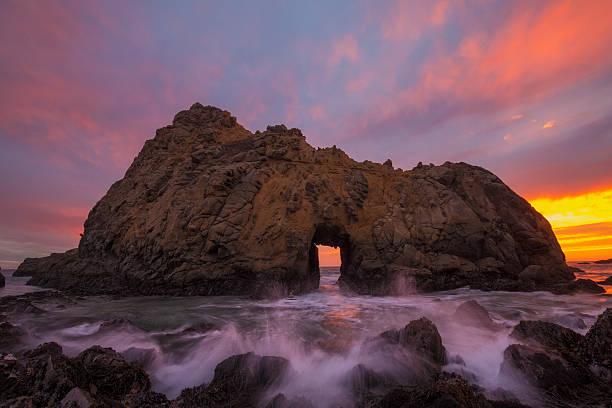 Sunset at Pfeiffer Beach State Park, California, America, USA:スマホ壁紙(壁紙.com)