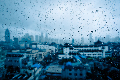 Rain「Raindrops on window glass with cityscape, China」:スマホ壁紙(8)