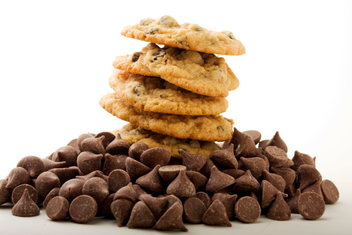 Milk Chocolate「Stack of chocolate chip cookies with chocolate chips」:スマホ壁紙(5)