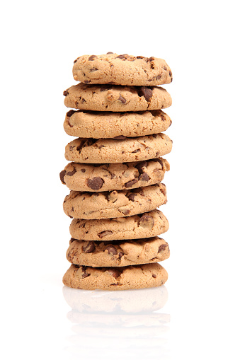 Cookie「Stack of chocolate chip cookies on a white background」:スマホ壁紙(15)