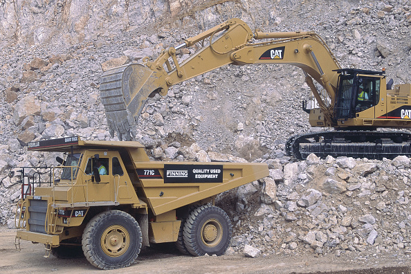 Earth Mover「Caterpillar 771C rigid dumper truck and Caterpillar crawler excavator.」:写真・画像(18)[壁紙.com]