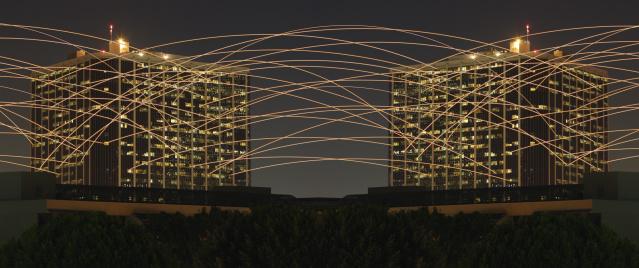 Digital Composite「Light Trails Between Buildings」:スマホ壁紙(15)